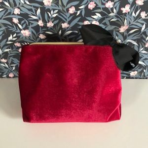 Saks Fifth Avenue velvet clutch/makeup bag
